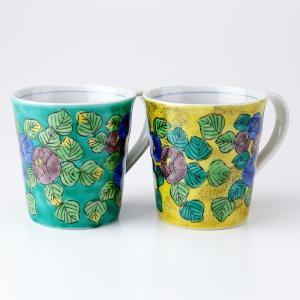 周年記念 お祝い 創立記念 創業記念 還暦祝い 退職記念  おしゃれ「九谷焼ペアマグカップ 山茶花」|craft-crowd