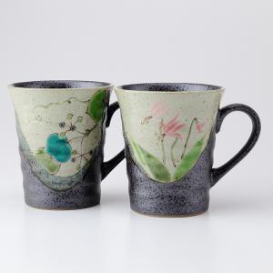 周年記念 お祝い 創立記念 創業記念 還暦祝い 退職記念  おしゃれ「九谷焼ペアマグカップ 野花」|craft-crowd
