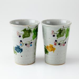 周年記念 お祝い 創立記念 創業記念 還暦祝い 退職記念  おしゃれ「九谷焼ペアフリーカップ 野ぶどう」|craft-crowd