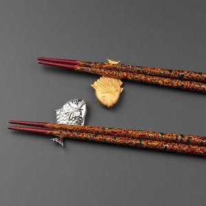 長寿祝い 還暦祝い ギフト 上司への贈りもの 鯛の箸置きと天然木砂金箸のセット |craft-crowd