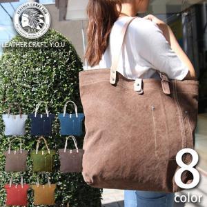 トートバッグ ウォッシュドキャンバス 本革 レザー メンズ レディース bag-sho016|craft-you