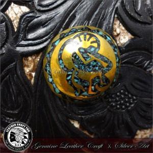 コンチョ/ブラス/真鍮/ターコイズ/レザーウォレット/革財布などのカスタマイズ用に/バイカーズ/cho-he096|craft-you