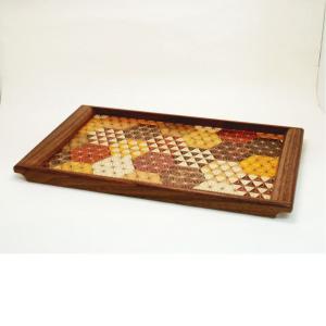 寄木細工作り トレイ・お盆 木製 伝統工芸品 亀甲 麻の葉|craft8