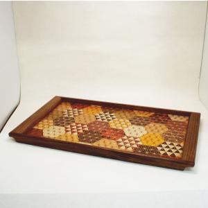 寄木細工作り トレイ・お盆 木製 伝統工芸品 亀甲 麻の葉 大|craft8