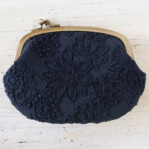 """poussette(プセット) がまぐち4.5寸  """"Flower loan over lace -花柄ローンオーバーレース-""""