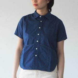 graphzero(グラフゼロ) ヘムポケットシャツ 半袖 インディゴ 抜染 ドット レディース craftcafe