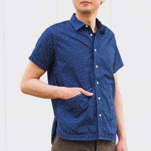 graphzero(グラフゼロ) ヘムポケットシャツ 半袖 インディゴ 抜染 ドット メンズ craftcafe
