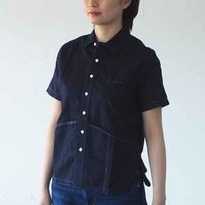 graphzero(グラフゼロ) ヘムポケットシャツ 半袖 ジンバブエコットン インディゴ レディース craftcafe
