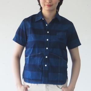 graphzero(グラフゼロ) ヘムポケットシャツ 半袖 インディゴボーダー レディース craftcafe