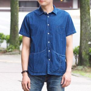 graphzero(グラフゼロ) ヘムポケットシャツ 半袖 インディゴ 抜染 ドット柄 メンズ craftcafe