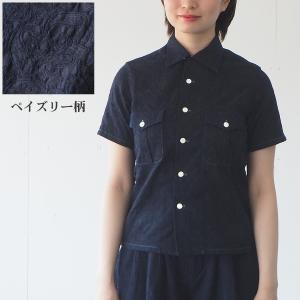 graphzero(グラフゼロ) オープンカラーシャツ 半袖 インディゴ ペイズリー レディース|craftcafe