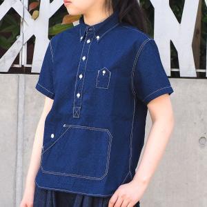 graphzero(グラフゼロ)トラベラーズプルオーバーシャツ 半袖 ジャガード・インディゴ レディース|craftcafe