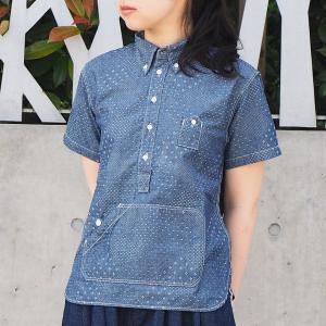 graphzero トラベラーズプルオーバー ボタンダウンシャツ ジャガード ホワイト 半袖 レディース|craftcafe