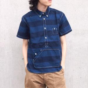 graphzero(グラフゼロ)トラベラーズプルオーバーボタンダウンシャツ 半袖 インディゴボーダー メンズ|craftcafe