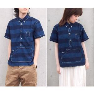 graphzero(グラフゼロ)トラベラーズプルオーバーボタンダウンシャツ 半袖 インディゴボーダー メンズ|craftcafe|02