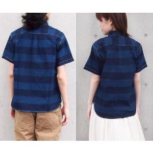 graphzero(グラフゼロ)トラベラーズプルオーバーボタンダウンシャツ 半袖 インディゴボーダー メンズ|craftcafe|03