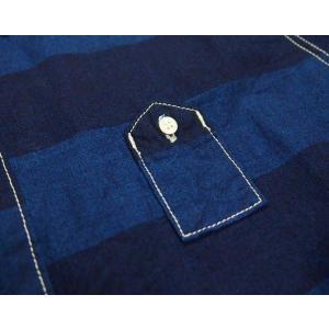 graphzero(グラフゼロ)トラベラーズプルオーバーボタンダウンシャツ 半袖 インディゴボーダー メンズ|craftcafe|05