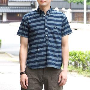 graphzero(グラフゼロ)トラベラーズプルオーバーシャツ 半袖 ボーダー グレー×インディゴ メンズ craftcafe