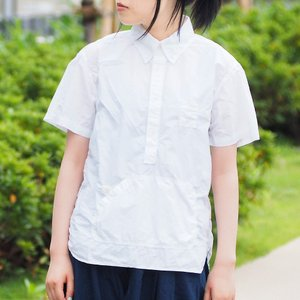 graphzero トラベラーズ プルオーバー ボタンダウンシャツ タイプライタークロス 半袖 ホワイト レディース|craftcafe