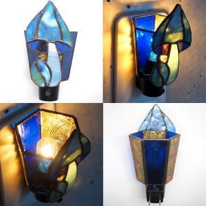 フットライト ステンドグラス照明 コンセント直結ライト きのこ ブルー matilde マチルダ|craftcafe