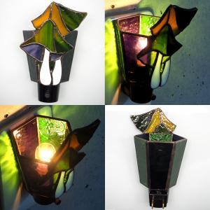 フットライト ステンドグラス照明 コンセント直結ライト きのこ グリーン matilde マチルダ|craftcafe