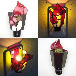 フットライト ステンドグラス照明 コンセント直結ライト きのこ レッド matilde マチルダ|craftcafe