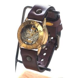 手作り腕時計 ハンドメイド 渡辺工房 手巻き式 裏スケルトン Explorer2 メンズブラス/アンティーク調/スチームパンク|craftcafe|02