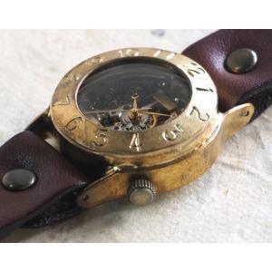 手作り腕時計 ハンドメイド 渡辺工房 手巻き式 裏スケルトン Explorer2 メンズブラス/アンティーク調/スチームパンク|craftcafe|03
