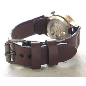 手作り腕時計 ハンドメイド 渡辺工房 手巻き式 裏スケルトン Explorer2 メンズブラス/アンティーク調/スチームパンク|craftcafe|05