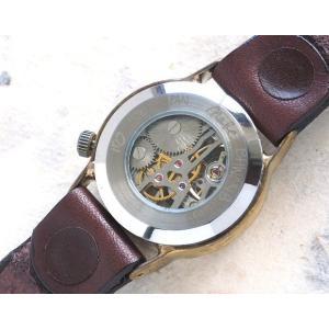 手作り腕時計 ハンドメイド 渡辺工房 手巻き式 裏スケルトン Explorer2 メンズブラス/アンティーク調/スチームパンク|craftcafe|06