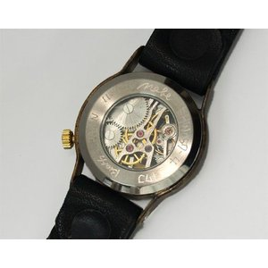手作り腕時計 ハンドメイド 渡辺工房 手巻き式 裏スケルトン Explorer メンズブラス/アンティーク調/スチームパンク craftcafe 05