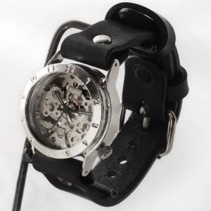 手作り腕時計 ハンドメイド 渡辺工房 手巻き式 裏スケルトン メンズシルバー/アンティーク調/スチー...