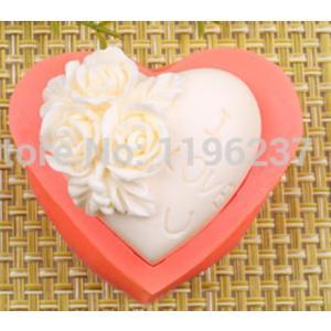 手作り石鹸、キャンドル製作用 3Dシリコンモールド  ハート 薔薇 |craftmarket