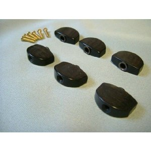 Schaller(シャーラー)ペグ用  エボニーノブ(ペグボタン) 標準サイズ 6個・ネジセット Groverも|craftn