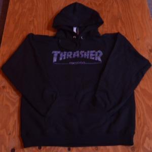 THRASHER パーカー スラッシャー セール スウェット GX1000 S M L BLACK プルオーバー スケボー スケート コラボレーション SK8 SKATEBOARD ストリート SKATE 黒|crass