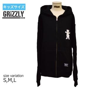 グリズリー GRIZZLY パーカー グリップテープ キッズ LOGO YOUTH ZIP-UP HOODIE スウェット フーディー ユースサイズ 子供服|crass