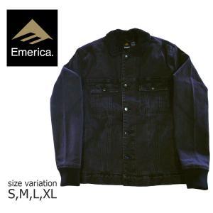 EMERICA ジャケット エメリカ HERES JOHNNY JACKET ワークジャケット カバーオール メンズ ストリート スケートボード スケボー SKATE BLACK 黒|crass