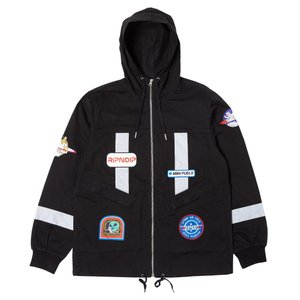 RIPNDIP コーチジャケット リップンディップ Nerm Flight Fisherman Jacket Black スケボー メンズ レディース アウター ねこ|crass