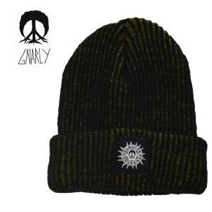 GNARLY ビーニー ニット帽 VERTICAL STRIPE BEANIE ナーリー フード スノーボード スノボ 帽子 GREEN グリーン スノーキャップ 防寒 crass