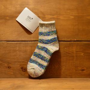 SUNNY NOMADO 靴下 サニー ノマド メンズ レディース 多色ボーダー 綿 ヘンプ へんぷ 奈良 国産 ドメスティック BLUE 青 ボーダー made in japan hemp TOMS 079|crass