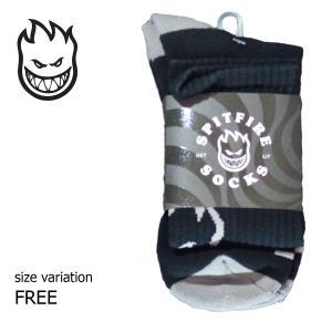 SPITFIRE ソックス 靴下 SF SOCKS HEADS UP BLACK GREY スピットファイヤー メンズ ストリート スケートボード スポーツソックス レッグウエア|crass