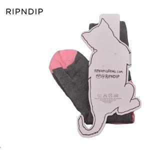 RIPNDIP スケートボード 靴下 リップンディップ Eat Me Socks ユニセックス ソックス PINK スケボー ストリート ネコ ねこ ピンク|crass