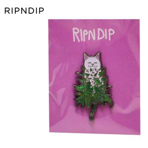 RIPNDIP スケートボード シュプリーム リップンディップ リッピンディップ Nermal Nug Pin スケボー 葉っぱ ねこ キャット ピンバッチ ピンバッジ バッヂ|crass