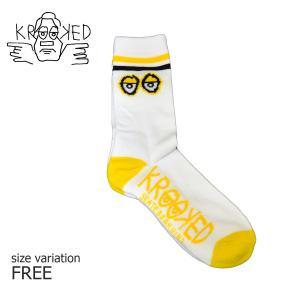 KROOKED ソックス 靴下 BIG EYES SOCKS WHITE YELLOW クルキッド クルックド メンズ ストリート スケートボード スポーツソックス スケボー ハイソックス crass