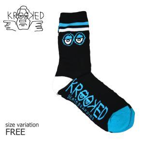KROOKED ソックス 靴下 BIG EYES SOCKS BLACK BLUE クルキッド クルックド メンズ ストリート スケートボード スポーツソックス スケボー ハイソックス crass