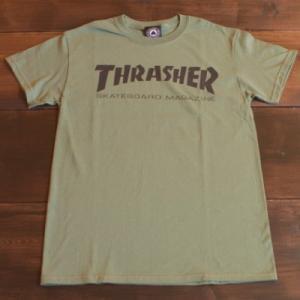 THRASHER Tシャツ スラッシャー セール MAG LOGO ARMY GREEN S M L メンズ レディース ストリート スケボー正規品 半袖 ロゴ アーミー 緑|crass