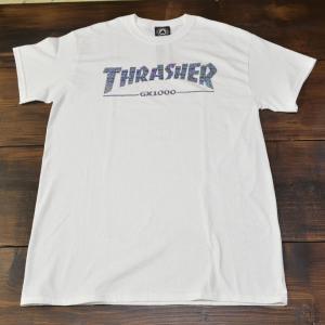 スラッシャー Tシャツ THRASHER GX1000 S M L WHITE スケボー スケート 正規品 半袖 SK8 SKATEBOARD ストリート コラボレーション 白|crass