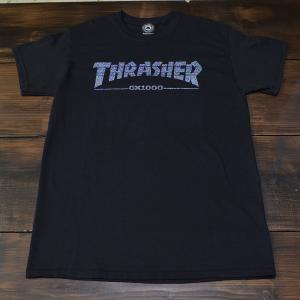 THRASHER Tシャツ S M L GX1000 BLACK スラッシャー スケボー スケート 正規品 半袖 SK8 SKATE ストリート コラボレーション 黒 ブラック|crass