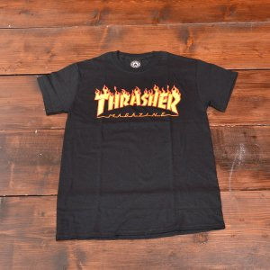 THRASHER Tシャツ スラッシャー FLAME LOGO TEE BLACK S メンズ レディース ブラック ストリート スケボー 正規品 半袖 ロゴ 黒|crass