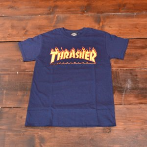 THRASHER Tシャツ スラッシャー FLAME LOGO TEE VAVY S M L メンズ レディース ネイビー 紺 ストリート スケボー 正規品 半袖 ロゴ|crass